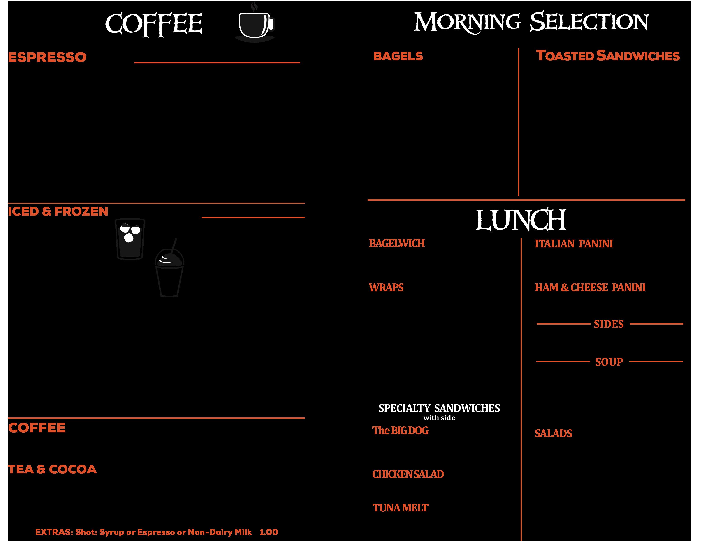 Links Coffee House Cafe Menu